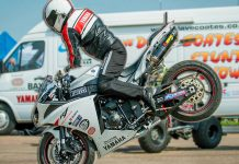 Yamaha's Dave Coates performing motorcycle stunts