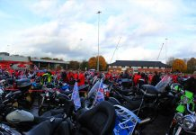 Lots of bikes gathered for the ring of red for Remembrance Sunday