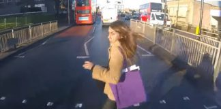 Motorcycle hits women running for London Bus